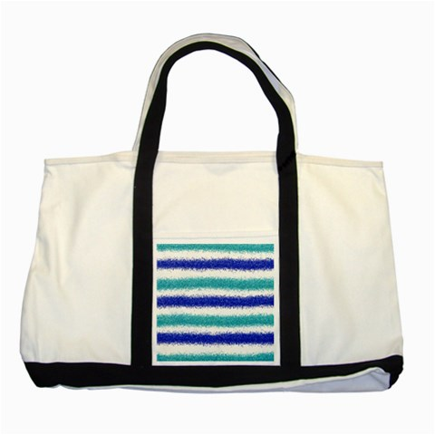 Metallic Blue Glitter Stripes Two Tone Tote Bag