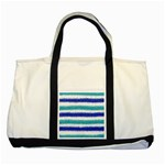 Metallic Blue Glitter Stripes Two Tone Tote Bag Front