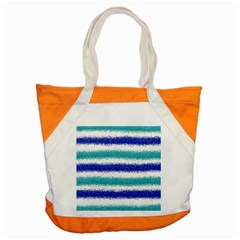 Metallic Blue Glitter Stripes Accent Tote Bag