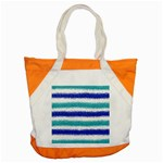Metallic Blue Glitter Stripes Accent Tote Bag Front