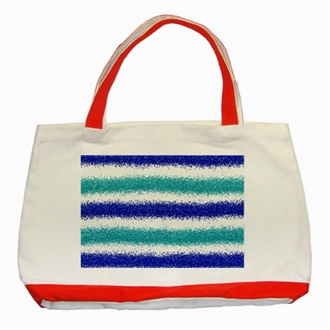 Metallic Blue Glitter Stripes Classic Tote Bag (Red)