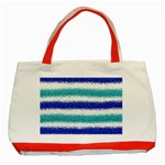 Metallic Blue Glitter Stripes Classic Tote Bag (Red) Front