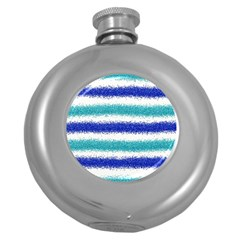 Metallic Blue Glitter Stripes Round Hip Flask (5 oz)
