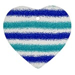 Metallic Blue Glitter Stripes Heart Ornament (2 Sides) Front