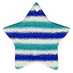 Metallic Blue Glitter Stripes Star Ornament (Two Sides)  Front