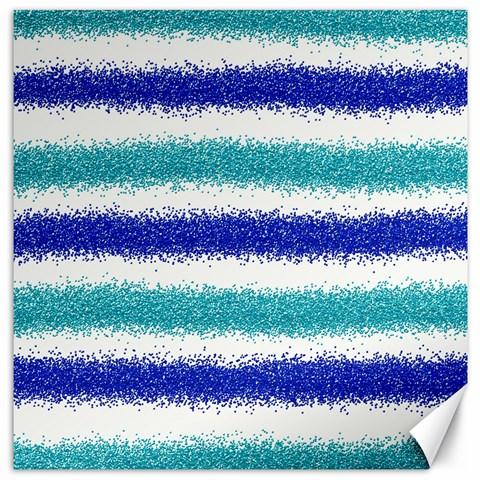 Metallic Blue Glitter Stripes Canvas 12  x 12