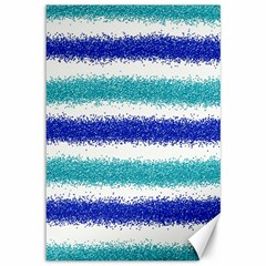 Metallic Blue Glitter Stripes Canvas 12  x 18