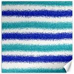 Metallic Blue Glitter Stripes Canvas 16  x 16   16 x16 Canvas - 1