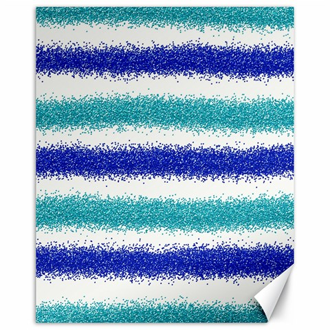 Metallic Blue Glitter Stripes Canvas 16  x 20