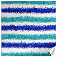 Metallic Blue Glitter Stripes Canvas 20  x 20
