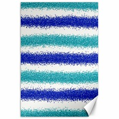 Metallic Blue Glitter Stripes Canvas 20  x 30