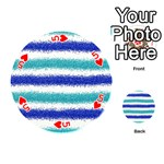 Metallic Blue Glitter Stripes Playing Cards 54 (Round)  Front - Heart5