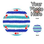 Metallic Blue Glitter Stripes Playing Cards 54 (Round)  Front - Heart6