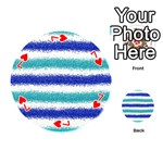 Metallic Blue Glitter Stripes Playing Cards 54 (Round)  Front - Heart7