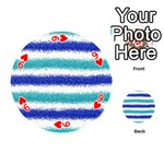 Metallic Blue Glitter Stripes Playing Cards 54 (Round)  Front - Heart9