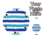 Metallic Blue Glitter Stripes Playing Cards 54 (Round)  Front - Club7