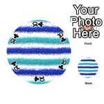 Metallic Blue Glitter Stripes Playing Cards 54 (Round)  Front - Club10