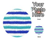 Metallic Blue Glitter Stripes Playing Cards 54 (Round)  Back