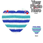 Metallic Blue Glitter Stripes Playing Cards 54 (Heart)  Front - Heart7