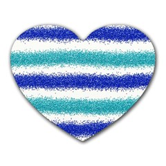 Metallic Blue Glitter Stripes Heart Mousepads