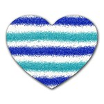 Metallic Blue Glitter Stripes Heart Mousepads Front