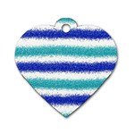 Metallic Blue Glitter Stripes Dog Tag Heart (Two Sides) Front