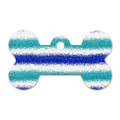 Metallic Blue Glitter Stripes Dog Tag Bone (Two Sides)