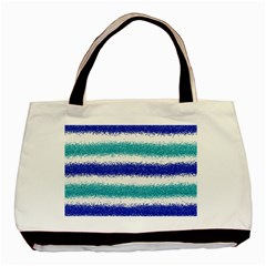 Metallic Blue Glitter Stripes Basic Tote Bag (Two Sides)