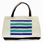 Metallic Blue Glitter Stripes Basic Tote Bag (Two Sides) Front