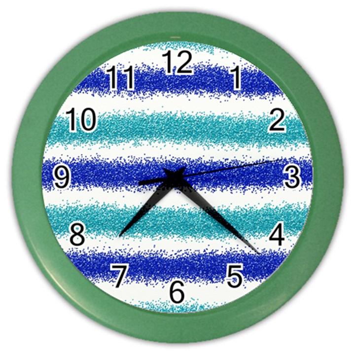 Metallic Blue Glitter Stripes Color Wall Clocks