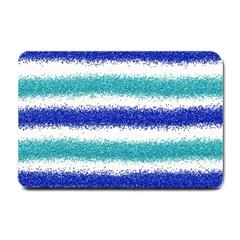 Metallic Blue Glitter Stripes Small Doormat