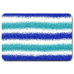 Metallic Blue Glitter Stripes Large Doormat  30 x20 Door Mat - 1