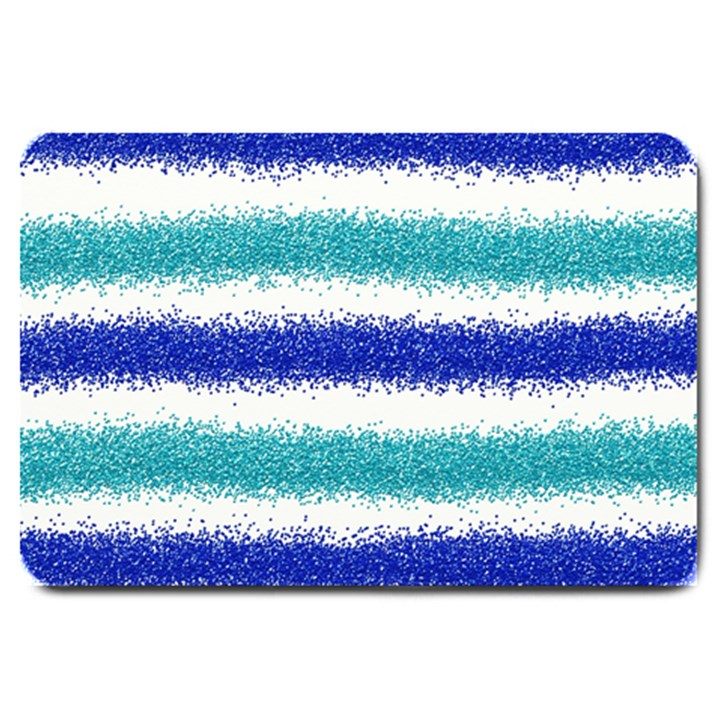 Metallic Blue Glitter Stripes Large Doormat