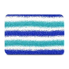 Metallic Blue Glitter Stripes Plate Mats