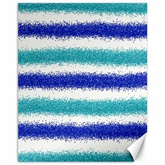 Metallic Blue Glitter Stripes Canvas 11  x 14