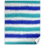 Metallic Blue Glitter Stripes Canvas 11  x 14   14 x11 Canvas - 1