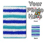 Metallic Blue Glitter Stripes Multi-purpose Cards (Rectangle)  Front 44