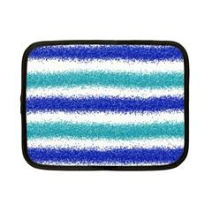 Metallic Blue Glitter Stripes Netbook Case (Small)