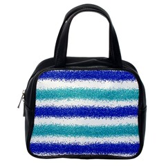 Metallic Blue Glitter Stripes Classic Handbags (One Side)
