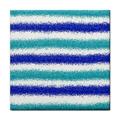 Metallic Blue Glitter Stripes Face Towel