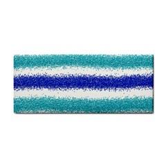 Metallic Blue Glitter Stripes Hand Towel