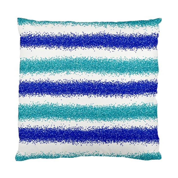 Metallic Blue Glitter Stripes Standard Cushion Case (Two Sides)