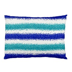 Metallic Blue Glitter Stripes Pillow Case