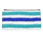Metallic Blue Glitter Stripes Pencil Cases Front