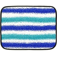Metallic Blue Glitter Stripes Double Sided Fleece Blanket (Mini)