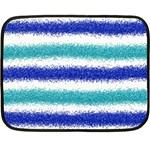 Metallic Blue Glitter Stripes Double Sided Fleece Blanket (Mini)  35 x27 Blanket Front