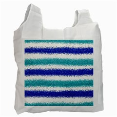 Metallic Blue Glitter Stripes Recycle Bag (One Side)