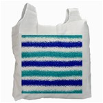Metallic Blue Glitter Stripes Recycle Bag (Two Side)  Front