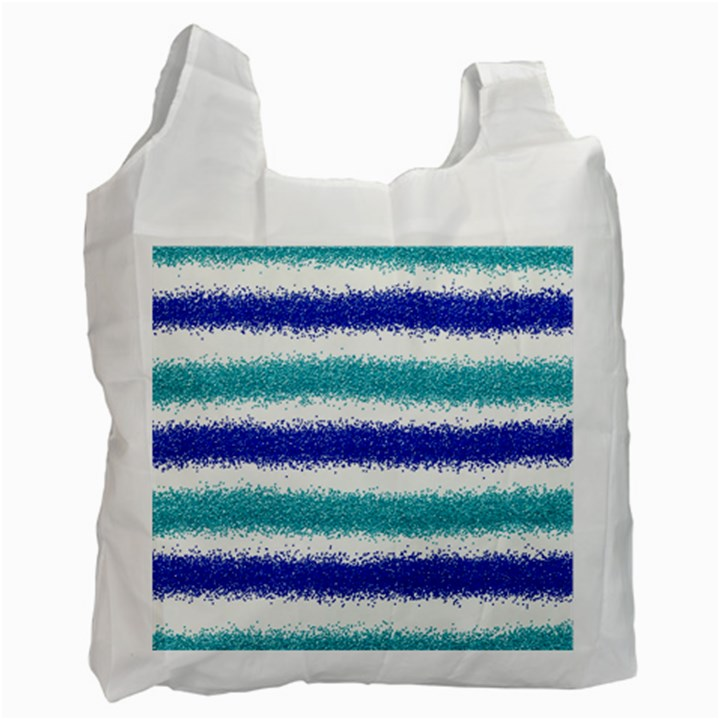 Metallic Blue Glitter Stripes Recycle Bag (Two Side)
