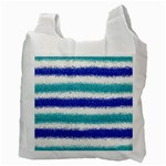 Metallic Blue Glitter Stripes Recycle Bag (Two Side)  Back